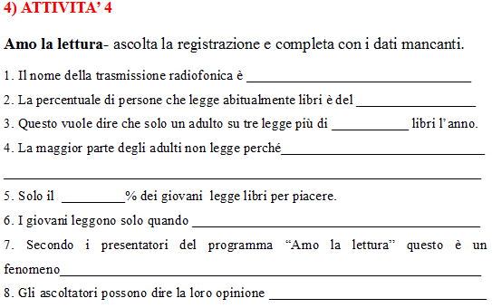 Intermediate level Italian listening comprehension exercises