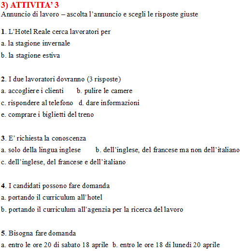 Third Italian B1 listening comprehension task