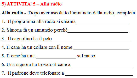 Italian listening practice exercise