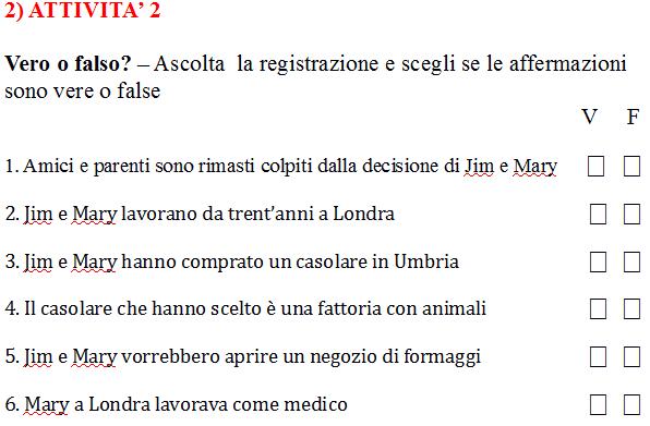 Italian listening comprehension task