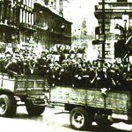 Partisans parade in trucks in Bologna on Liberation Day, 1945.