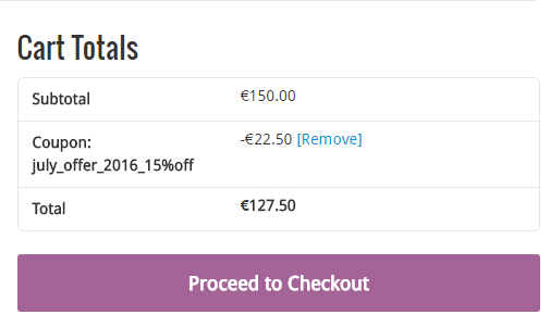5. Scroll down to see the cart total