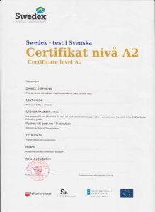 A2 Swedish language certificate