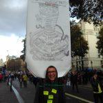 Anti-Brexit marcher with Dante placard